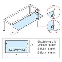 Edelstahl Design Scharnier-Adapter - Glas 4-9 mm - Rohr Ø 38.1 mm