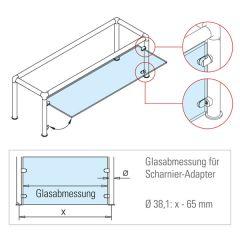 Chrom Design Anschlag-Adapter - Glas 4-9 mm - Wandmontage