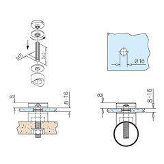 Glasbefestigungsadapter Edelstahl V2A - Glas 8-16 mm - Wandmontage