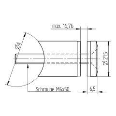 Glasbefestigungsadapter Edelstahl V4A Glas bis 16.76 mm Rohr 33.7 mm