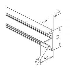 Glasplattenprofil Set 6100 - Aluminium poliert - Länge 100cm