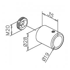 Chrom Design - Ø19mm - 1.250mm - Duschwand-Stabilisationsset 90°