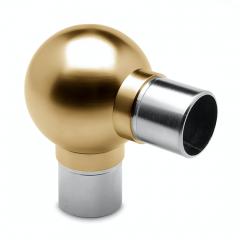 Messing matt Design Rohr 25,4 mm Kugelrohrverbinder 90°