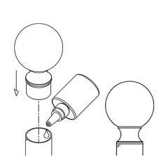 Messing matt Design Rohr 25,4 mm Endkugel