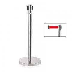Abgrenzungsständer poliert - ECO-F Gurtband ROT 2m