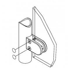 Messing matt Design Glasklemme 20 - Rohr 38,1 mm - Glas 6-8mm
