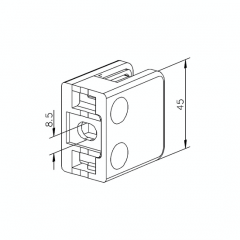 Messing matt Design Glasklemme 21 - Flachmontage - Glas 6-10mm
