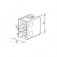 Messing matt Design Glasklemme 21 - Rohr 38,1 mm - Glas 6-10mm
