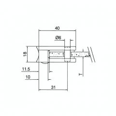 Messing matt Design Glasklemme 27 - Rohr 25,4 mm - Glas 4-8.76mm