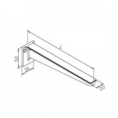Messing matt Design Glasplattenträger Länge 200mm