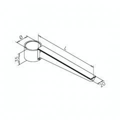 Messing matt Design Rohr 25,4 mm Glasbodenhalter 200mm