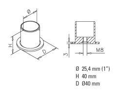 Anthrazit Design Rohr 25,4 mm Rohrbefestigungshülse