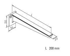 Edelstahl Design Glasplattenträger Länge 200 mm