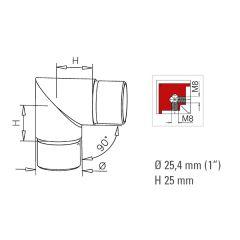Messing Design Rohr 25.4 mm Rohrwinkel 90°