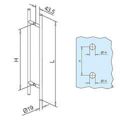 Messing Design Türgriff 475303 - Griff Ø19mm - Grifflänge 30cm