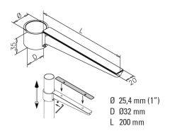 Anthrazit Design Glasbodenträger Länge 200 mm für Rohr Ø 25.4 mm