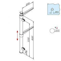 Hustenschutz Pfosten 20-112-25 links - Rohr Ø 25.4 mm - Anthrazit Design